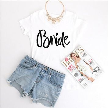 Bride Heart Printed T-Shirt Engagement Party gifts Casual Tees Lady Short Sleeve Cotton Tops Outfits Women/Men Creweck Shirt