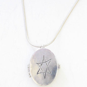 Sterling Silver two sided necklace with engraved Star of David and ancient Hebrew letters OOAK