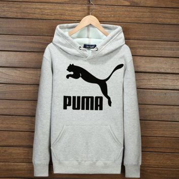 ONETOW Trendy Unisex Couples' Puma Print Hoodies Sweater Pullover