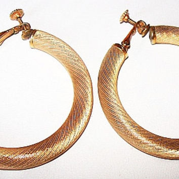 "Designer Hoop Earrings Signed Napier Brushed Gold Metal BIG 2"" Clip Screw Backs Vintage"