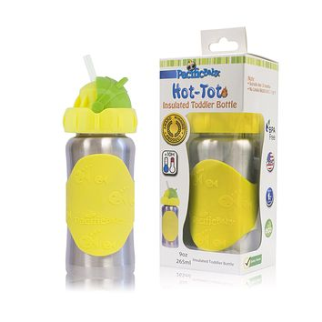 Hot-Tot 9oz Insulated Toddler Bottle Silver Yellow