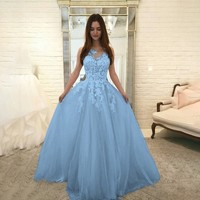 Women's Floral Lace Elegant Chiffon Ball Gown