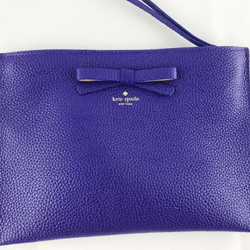 Kate Spade On Purpose Wristlet Leather Bright Cobalt Blue Ribbon