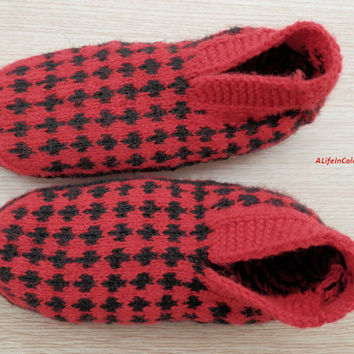 item no:155 Turkish Anatolian hand knit women's unique red and black colours slippers, slipper socks.