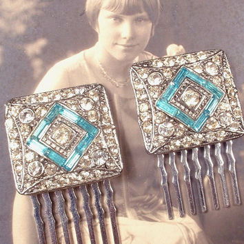 Art Deco Aqua Blue & Clear Rhinestone Bridal Hair Combs Pair Vintage 1920s Turquoise Pave Silver Dress Clips to OOAK Small Wedding Accessory