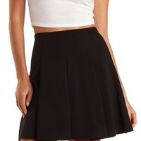 Box-Pleated Skater Skirt by Charlotte Russe - Black
