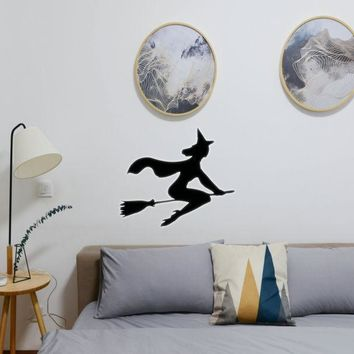 Halloween Witch Riding Broom 13 Vinyl Wall Decal - Removable (Indoor)