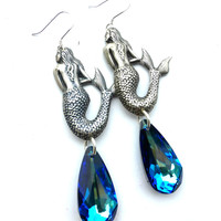 Mermaids with sterling silver and blue Swarovski Crystal earrings.