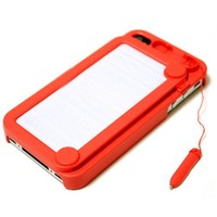 Hoter Creative Drawing Board Protective Case for iPhone 4/4S - Red