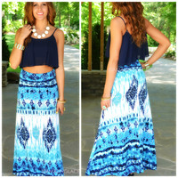 Sea Spell Blue Multi Tie-Dye Maxi Skirt
