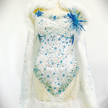 Annora Ice Queen costume / rave attire / rave wear / white bodysuit / frozen
