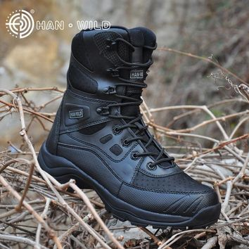 Hiking Outdoor Camping Boots Men Leather Climbing Trekking Hunting Mountain Sneakers Shoes Man Soldier Tactical Military Boot