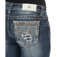 Miss Me Women's Medium Wash with Diamond Pattern Beaded Open Back Pocket Boot Cut Jeans