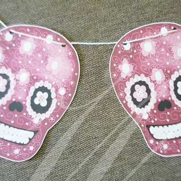 Pink skull paper bunting flag 12 pcs.flower bunting paper garland  bunting party banners ,room decor
