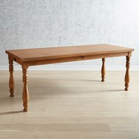"""Magnolia Home Vase Turned Leg 84"""" Bench Brown Dining Table"""