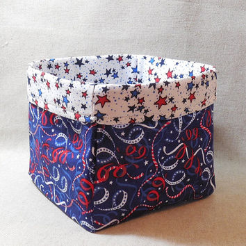 Red, White And Blue Patriotic Streamers and Stars Fabric Basket For Storage Or Gift Giving