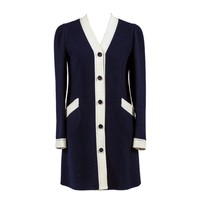 Rare 1960s Vintage Valentino Structured Wool Dress Blue White Mint Condition