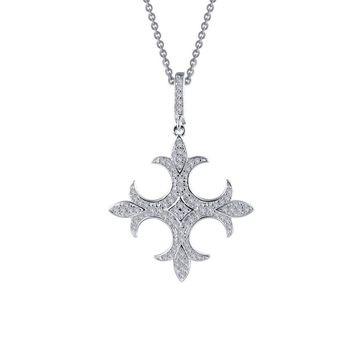 Lafonn Rhonda Faber Green Sterling Silver Platinum Plated Lassire Simulated Diamond Necklace (0.85 CTTW)