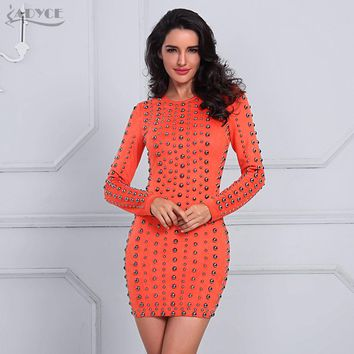 Adyce 2017 Sexy Women Celebrity Evening Party Dresses Orange Long Sleeve Beading Studded Vestidos Winter Bodycon Mini Dress