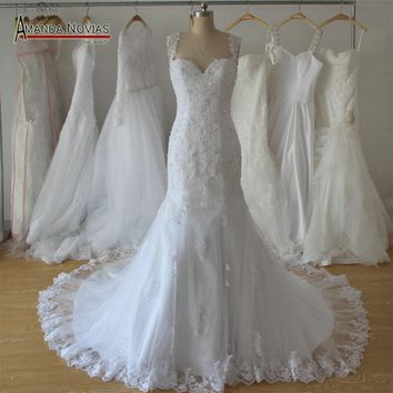 New Design Mermaid Lace Beading Wedding Dress Backless 2018