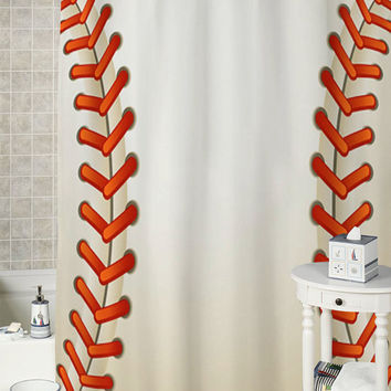 Baseball Texture Ball special shower curtains that will make your bathroom adorable.