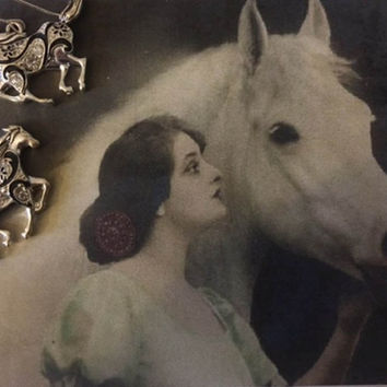 Silver Scroll Equestrian Earrings