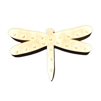 Dragonfly Vintage Marquee Lights Sign (White Finish)