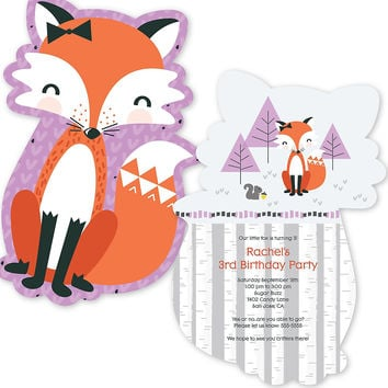 Miss Foxy Fox - Shaped Birthday Party Invitations
