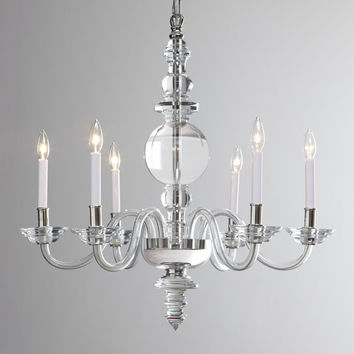 George II Large Six-Light Polished-Nickel Chandelier - Visual Comfort