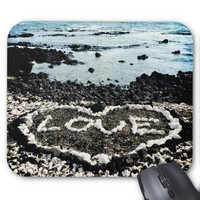 "Hawaii black sand beach & coral ""love"" heart photo mouse pad"