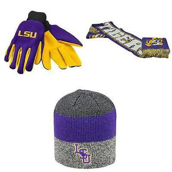 Licensed NCAA LSU Tigers Spirit Scarf Sunset Beanie Hat And Grip Work Glove 3Pk 44347 KO_19_1