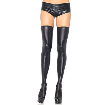 Turn Up The Beat Wet Look Thigh High Stockings Tights Hosiery - 3 Colors Available