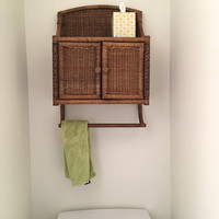 Over the Toilet Wicker Storage Cabinet, Rattan Wall Mounted Wood Space Saver Shelf, Medicine Chest Wall Cabinet