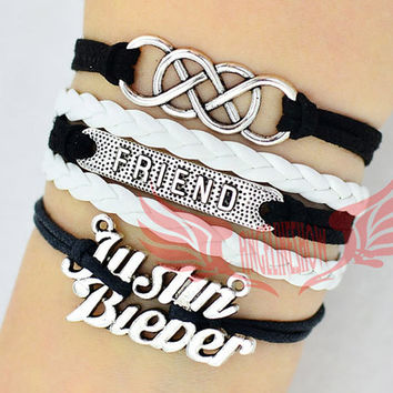Double infinity wish bracelet, Justin bieber,friend charm, multi layer bracelet ,white,black, birthday gift,Christmas Gift,Friendship Gift