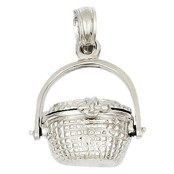 14k White Gold 3-d Opening Nantucket Basket Pendant, Best Quality Free Gift Box Satisfaction Guaranteed