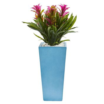 Silk Flowers -26 Inch Purple Triple Bromeliad In Turquoise Tower Vases