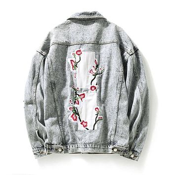 Distressed Denim Embroidered Urban Style Jackets
