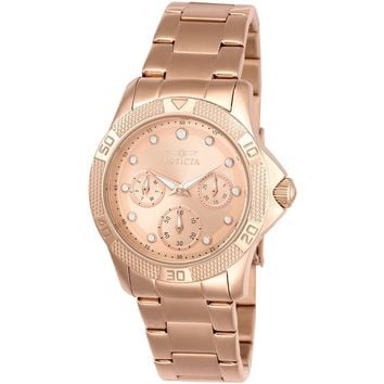 Invicta Women's 21765 Angel Quartz Chronograph Rose Gold, White Dial Watch