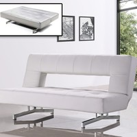 0926 - Fold-Out Leatherette Sofa Bed