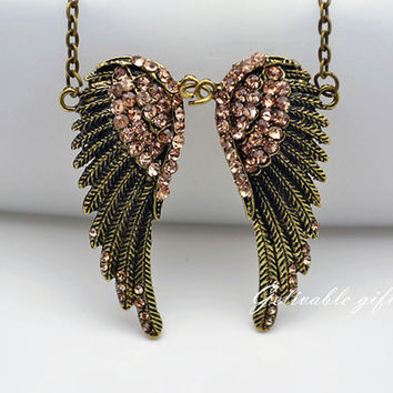 Wings Necklace-antique brass wings necklace,angel wings with pink crystal pendant necklace NWI03