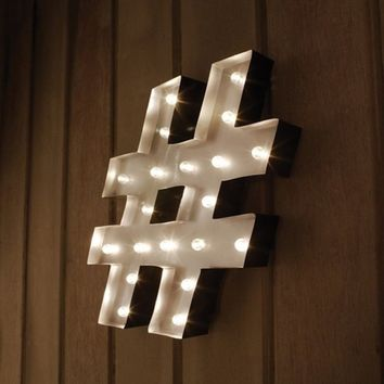 Hashtag # LED Marquee Sign. This Vintage Metal Sign Adds Charm to Any Room in Your Home. It's a Perfect Accent Piece for Everyday Décor. A Built in Timer Allows You to Enjoy the Lighted Sign All Day. Display on Wall, Shelves, Tables or Dressers for an Eleg