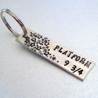 Harry Potter Keyring -Platform 9 3/4 - Hand Stamped Keychain - Gifts Under 20