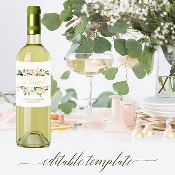 Custom wine bottle labels template printable, Floral greenery wine labels bridesmaid, Cheers bachelorette party / bridal shower wine labels