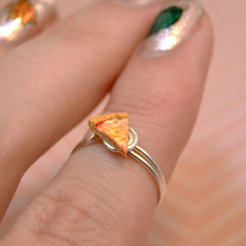 Pizza Slice Handmade Midi Ring - Slice of Pizza Knuckle Ring
