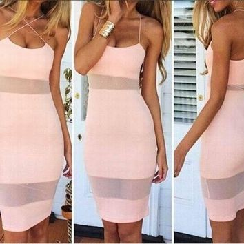 DCCKJ3V Sexy Bandage Stitching Wrap Chest Strapless Mini Dress
