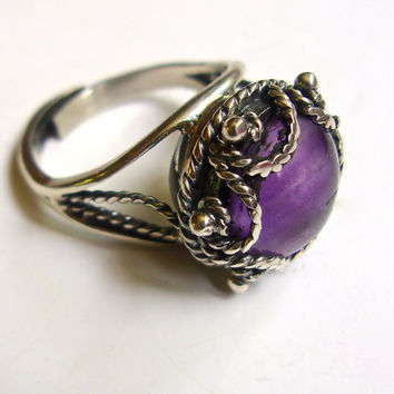 Sterling Silver Poison Amethyst Ring by CARSI Taxco Mexico, Adjustable, Vintage