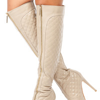 Nude Faux Leather Quilted Over the Knee Boots