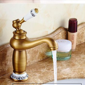 Free Shipping Contemporary Concise Bathroom Faucet Antique brass finish Brass Basin Sink Faucet Single Handle water taps
