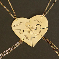 14 Karat Gold filled Hand engraved heart puzzle necklaces, shaped like a heart - perfect for 4 people, friendship, BFF, four, 4 pieces, gold