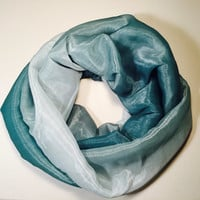Spring, Summer Lightweight Infinity Scarf, Loop Scarf, Circle Scarf - Crystal Ombré Organza, Blue/Green Mother's Day, Birthday, Easter